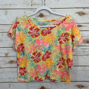 Aeropostale Yellow Floral Tropical Cropped Top L